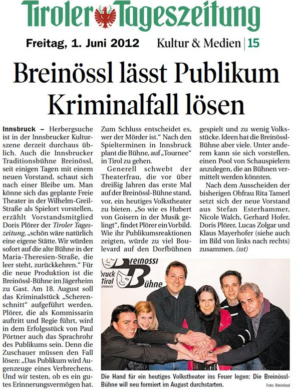 Beitrag in der Tiroler Tageszeitung vom 1.6.2012